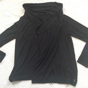 Eddie Bauer Drape Front Black Cowl Neck Cardigan